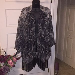 Fringed sheer cover up  for beach or overlay top